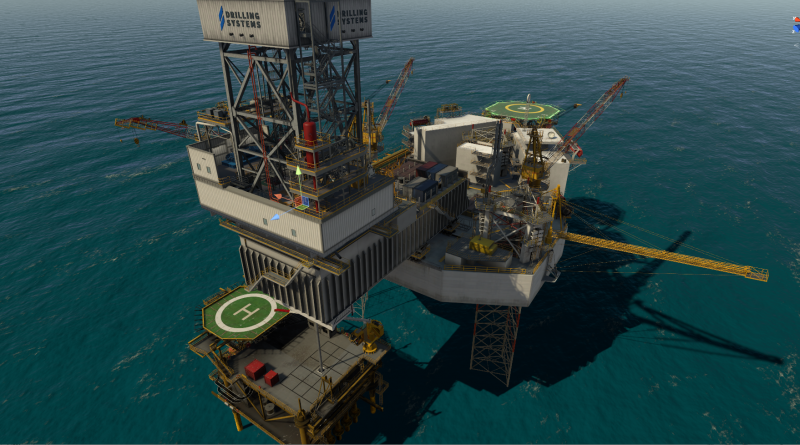 3D graphic view of a jack up rig on a Drilling Systems simulator