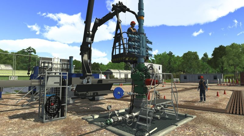 3D graphical representation of a wireline operation taking place on a land rig